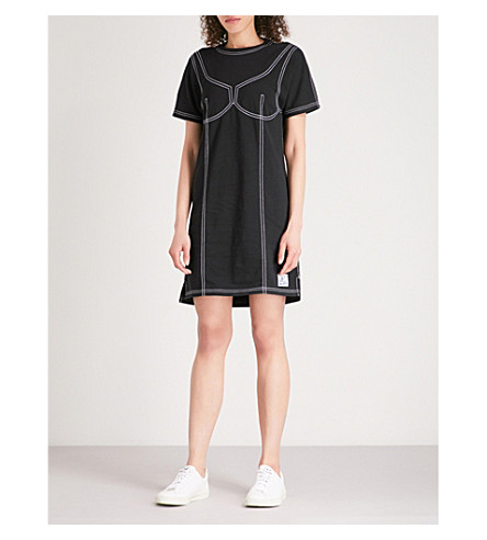 KENZO Topstitched cotton-jersey T-shirt dress (Black