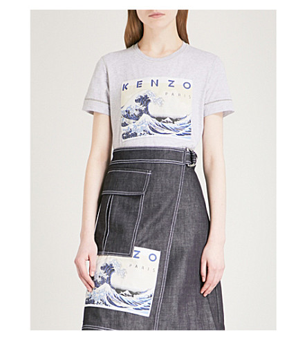KENZO Archive Wave cotton-jersey T-shirt (Grey