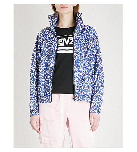 KENZO Printed shell hooded jacket (Navy+blue