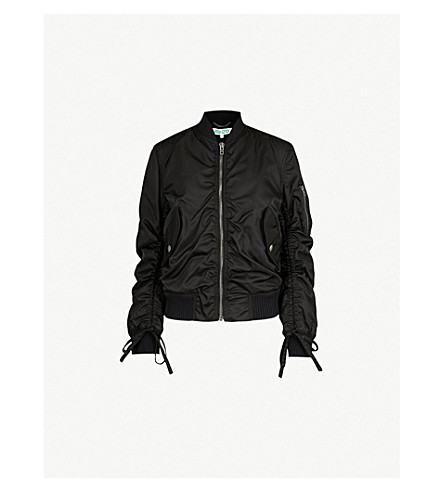 KENZO Drawstring-sleeve shell bomber jacket (Black