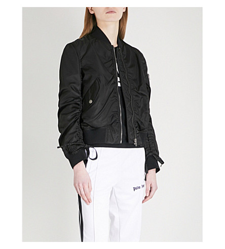 KENZO Drawstring-sleeve shell bomber jacket (Black