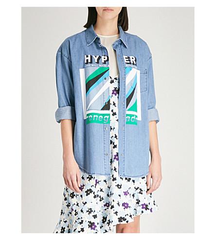 KENZO Authentic printed denim shirt (Navy+blue