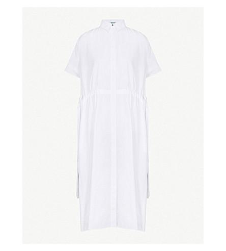 KENZO Drawstring cotton-popling shirt dress (White