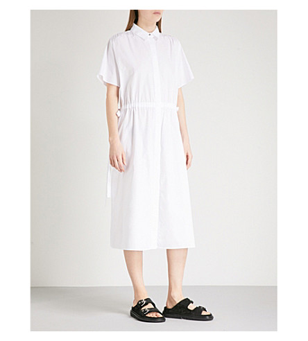 KENZO Drawstring cotton-popling shirt dress (White