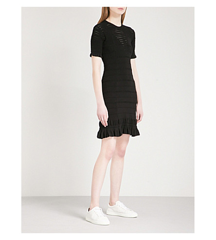 KENZO Frilled-trims knitted dress (Black