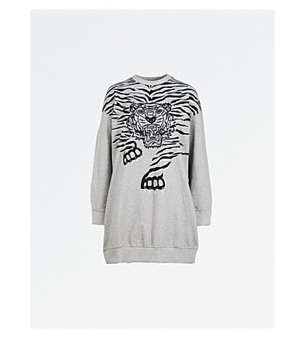 KENZO Tiger-print cotton-jersey sweatshirt dress (Dove+grey