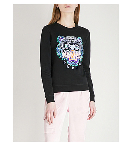 KENZO Icon Tiger-embroidered cotton-jersey sweatshirt (Black