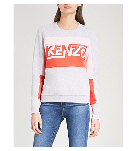 KENZO Comfort cotton-blend sweatshirt (Pale+grey