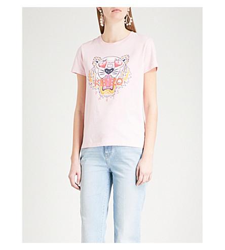 KENZO Valentine's Day Tiger cotton-jersey T-shirt (Flamingo+pink