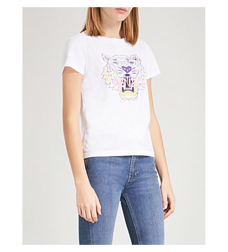 KENZO Tiger-print cotton-jersey T-shirt (White