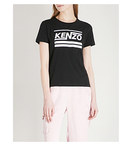 KENZO Printed cotton-jersey T-shirt (Black