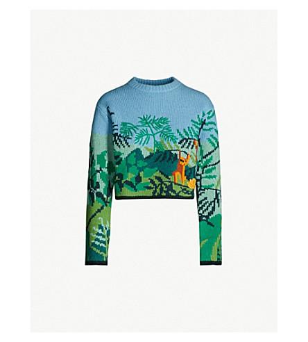 KENZO Jungle-instarsia wool-blend jumper (Multicolour