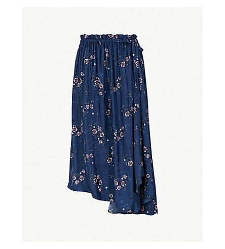 KENZO Floral-jacquard satin skirt (Navy