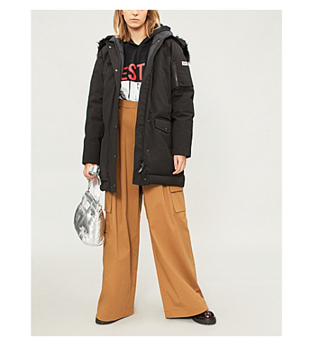 KENZO Faux-fur wool-blend parka coat (Black