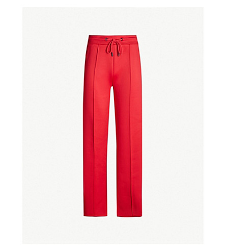 KENZO Relaxed-fit logo-trim jersey jogging bottoms (Medium red