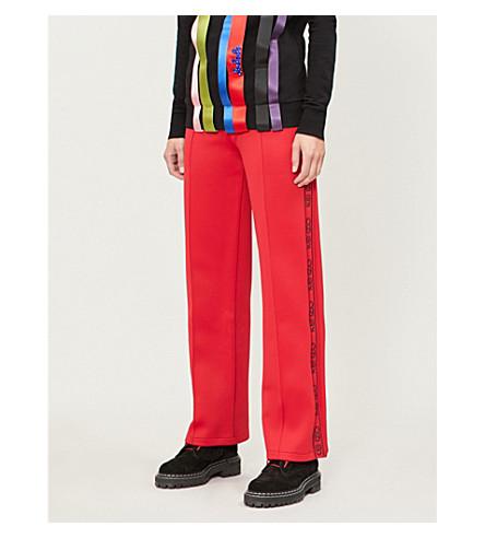 KENZO 休闲版型标志修剪平纹针织面料慢跑裤 (中 + 红色