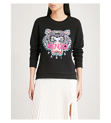 KENZO Tiger cotton-jersey sweatshirt (Black