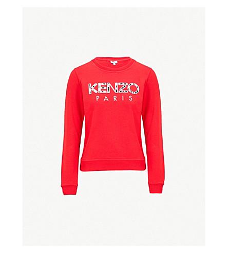 KENZO 豹标识刺绣平纹针织棉卫衣 (中 + 红