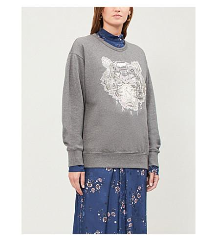 KENZO 虎珠平纹针织棉卫衣 (暗 + 灰