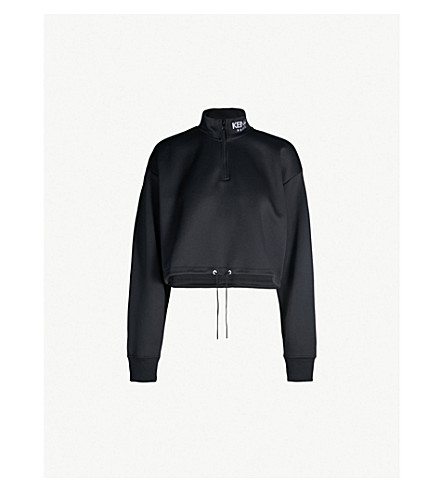 KENZO Cropped cotton-blend turtleneck sweatshirt (Black