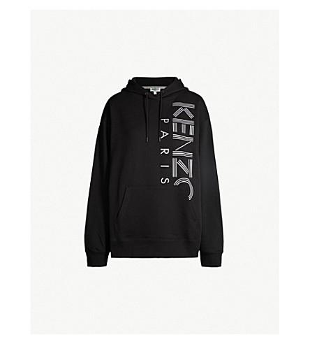KENZO 反光标识打印平纹针织棉帽衫 (黑色