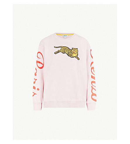 KENZO 虎绣平纹针织棉卫衣 (粉彩 + 粉红色