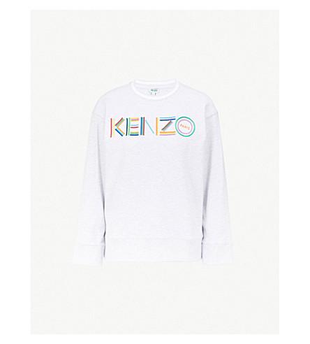 KENZO Logo-embroidered cotton-jersey sweatshirt (Grey