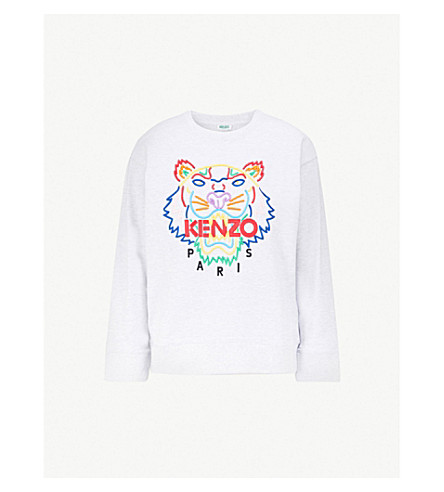 KENZO Tiger-embroidered cotton-jersey sweatshirt (Grey