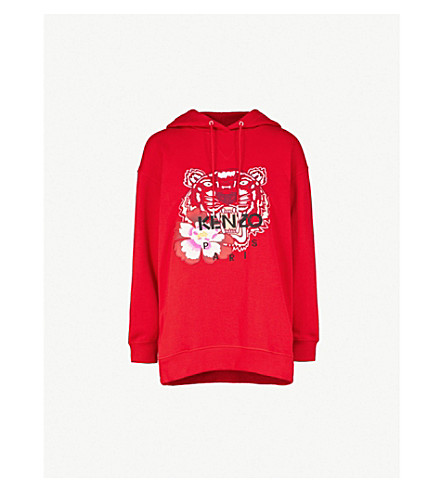 KENZO Tiger-embroidered cotton-jersey hoody (Medium+red