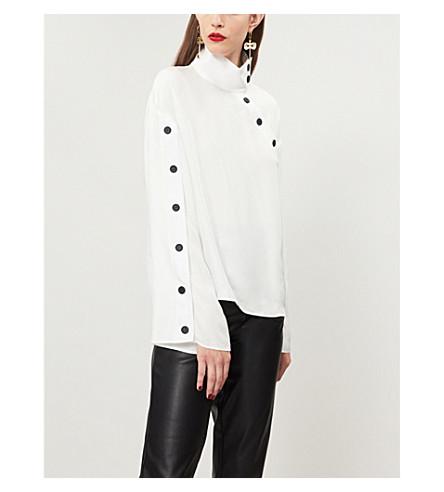 KENZO Asymmetric-button crepe shirt (White