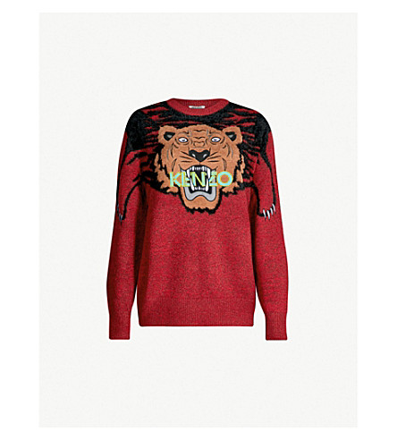 KENZO Claw tiger knitted jumper (Medium red