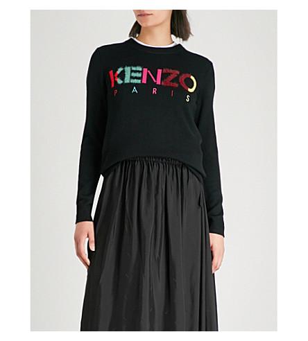 KENZO 徽标嵌花羊毛混纺毛衣 (黑色