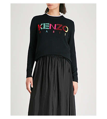 lana de de Negro intarsia mezcla logo Jersey con KENZO IaFq4w