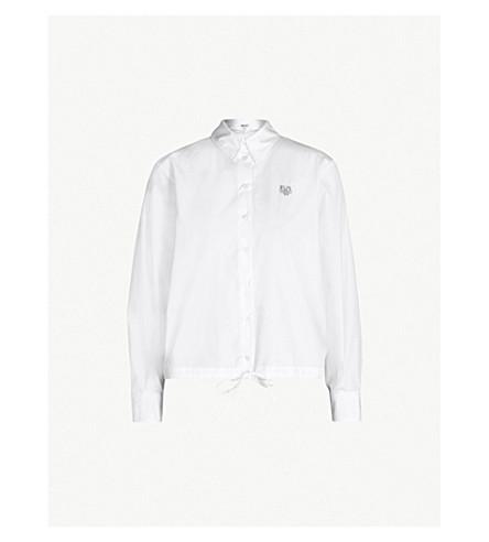 KENZO Logo-embroidered cotton-poplin shirt (White