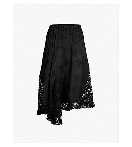 KENZO Floral lace-panel satin skirt (Black