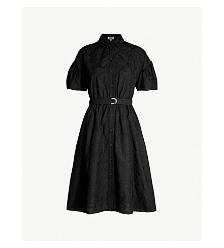 KENZO Floral-lace embroidered belted cotton shirt dress (Black