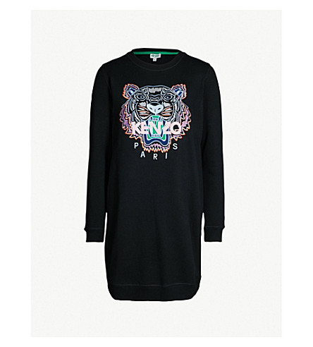KENZO Embroidered Tiger cotton-jersey sweatshirt dress (Black