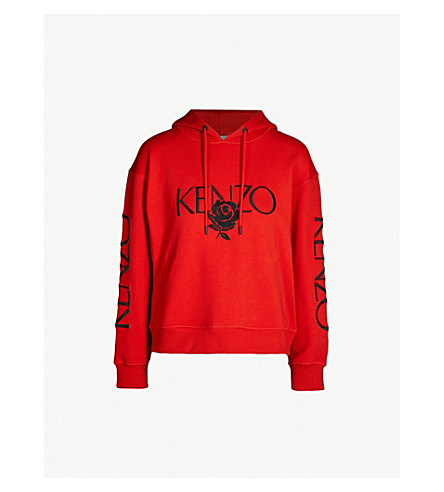KENZO Embroidered logo and rose cotton-jersey hoody (Red
