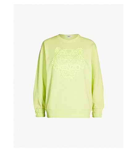 KENZO Tiger-embroidered cotton-jersey sweatshirt (Lemon