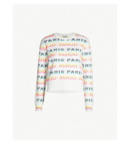KENZO Logo-print cotton-blend jumper (White