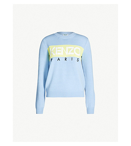 KENZO Logo-motif cotton-blend jumper (Blue