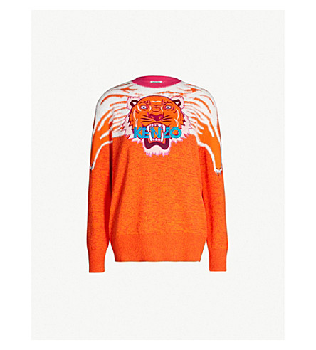 KENZO Tiger Claw cotton-blend jumper (Red