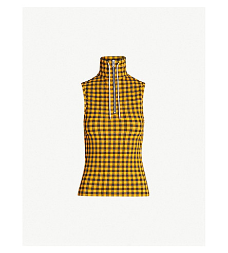 KENZO Sleeveless checked crepe top (Medium orange