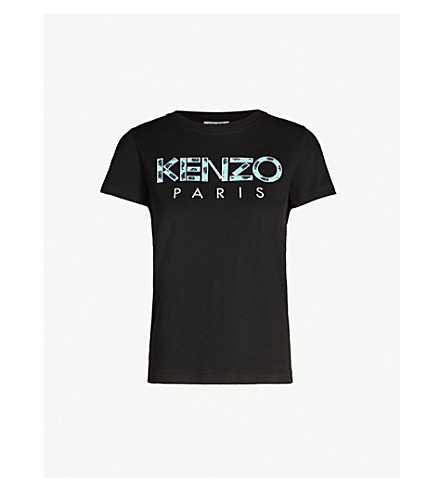 KENZO Logo-embroidered cotton-jersey T-shirt (Black