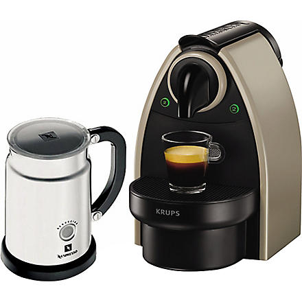 NESPRESSO Essenza coffee machine and Aeroccino milk frother (Grey