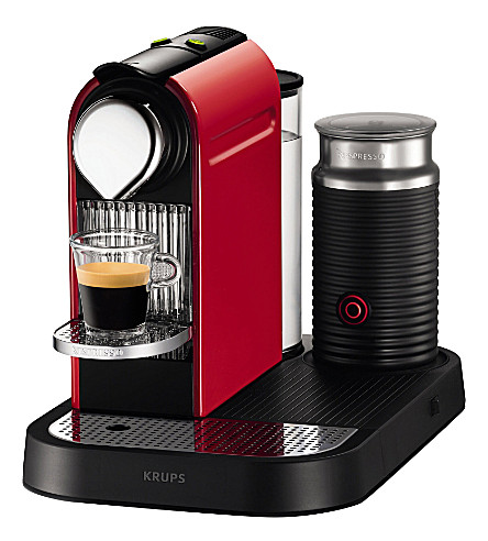 NESPRESSO CitiZ coffee machine and Aeroccino milk frother (Red