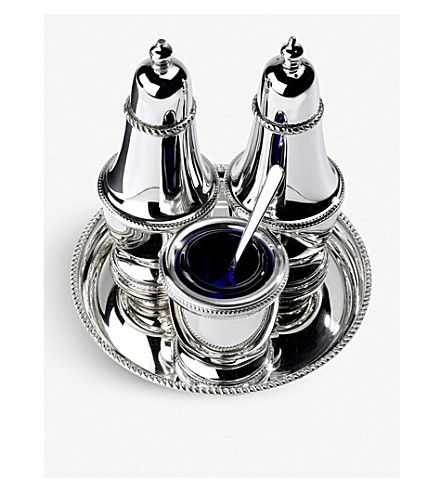 ARTHUR PRICE Silver-plated three-piece condiment set and tray