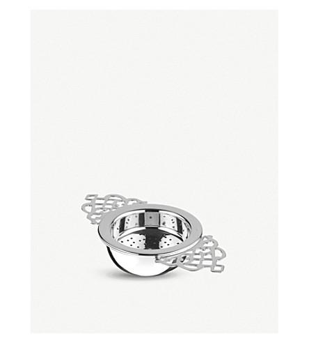 ARTHUR PRICE Silver-plated tea strainer and drip cup