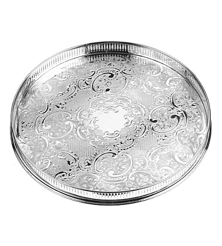 ARTHUR PRICE Embossed silver-plated 36cm-round tray