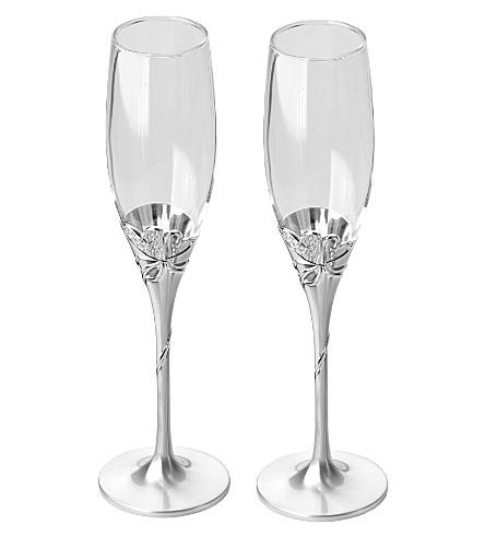 ARTHUR PRICE Heart detail champagne flutes